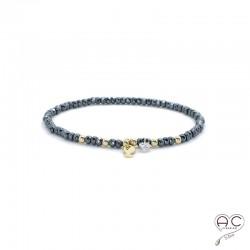 Bracelet hématite, pierre naturelle, pampille poisson en plaqué or et petit brillant en cristal, gipsy, bohème, création