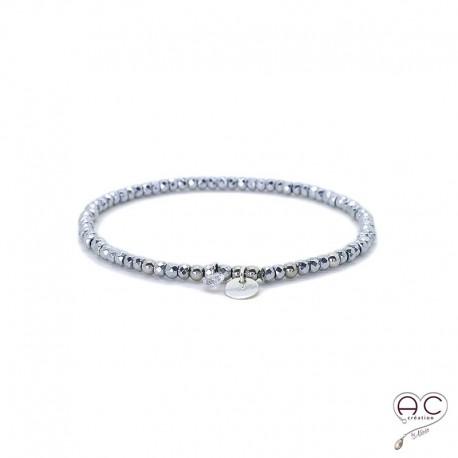 Bracelet hématite, pierre naturelle, pampille medaille en argent 925 et petit brillant en cristal, gipsy, bohème, création