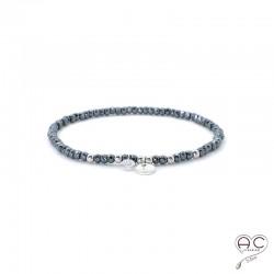 Bracelet hématite, pierre naturelle, pampille médaille en argent 925 et petit brillant en cristal, gipsy, bohème, création