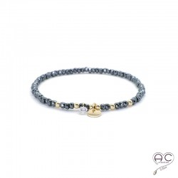 Bracelet hématite, pierre naturelle, pampille médaille en plaqué or et petit brillant en cristal, gipsy, bohème, création