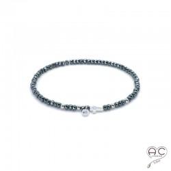 Bracelet hématite, pierre naturelle, croix en argent 925 et petit brillant en cristal, élastique, gipsy, bohème, création