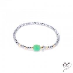 Bracelet chrysoprase et hématite, pierre naturelle, boulles en plaqué or et petit brillant en cristal, gipsy, bohème, création
