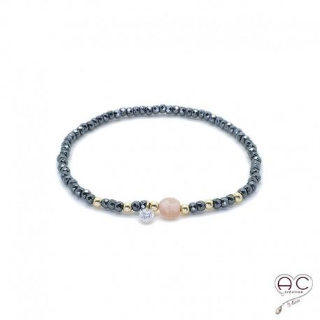 Bracelet pierre de soleil et hématite, pierre naturelle, plaqué or et petit brillant en cristal, gipsy, bohème, création