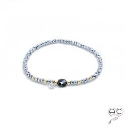 Bracelet spinelle et hématite, pierre naturelle, boulles en plaqué or et petit brillant en cristal, gipsy, bohème, création