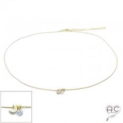 Collier ras de cou croissant de lune et petit brillant en cristal sur une chaîne en plaqué or, création, tendance