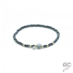 Bracelet labradorite et hématite, pierre naturelle, plaqué or et petit brillant en cristal, élastique, gipsy, bohème, création
