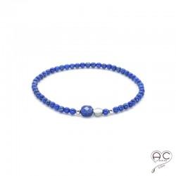 Bracelet lapis lazuli pierre naturelle, argent 925, élastique, femme, gipsy, bohème, création