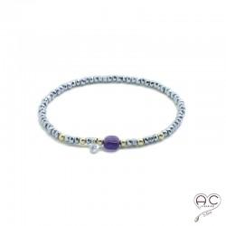 Bracelet améthyste et hématite, pierre naturelle, plaqué or et petit brillant en cristal, élastique, gipsy, bohème, création