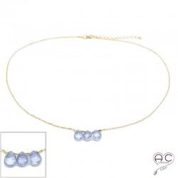 Collier ras de cou pierre naturelle améthyste , trois gouttes sur une chaîne en plaqué or, création, tendance