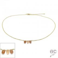 Collier ras de cou pierre naturelle pierre de solei, trois gouttes sur une chaîne en plaqué or, création, tendance
