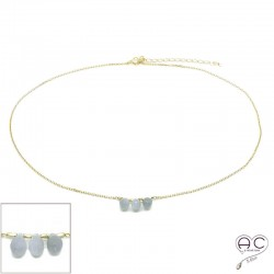 Collier ras de cou pierre naturelle pierre de lune grise, trois gouttes sur une chaîne en plaqué or, création, tendance