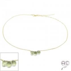 Collier ras de cou pierre naturelle lemon quartz, trois gouttes sur une chaîne en plaqué or, création, tendance