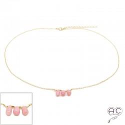 Collier ras de cou pierre naturelle opale rose , trois gouttes sur une chaîne en plaqué or, création, tendance
