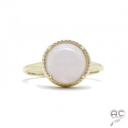 Bague quartz rose cabochon, ronde, pierre semi-précieuse, plaqué or