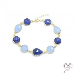 Bracelet cascade des pierres semi-précieuses, calcédoine bleu, sillimanite saphir en plaqué or, femme, création