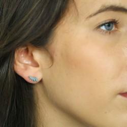 Boucles d'oreilles ailes turquoise et argent 925 rhodié