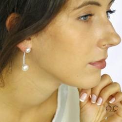 Boucles d'oreilles tribales perles d'eau douce zirconium argent 925 rhodié