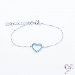 Bracelet cœur turquoise argent 925 rhodié