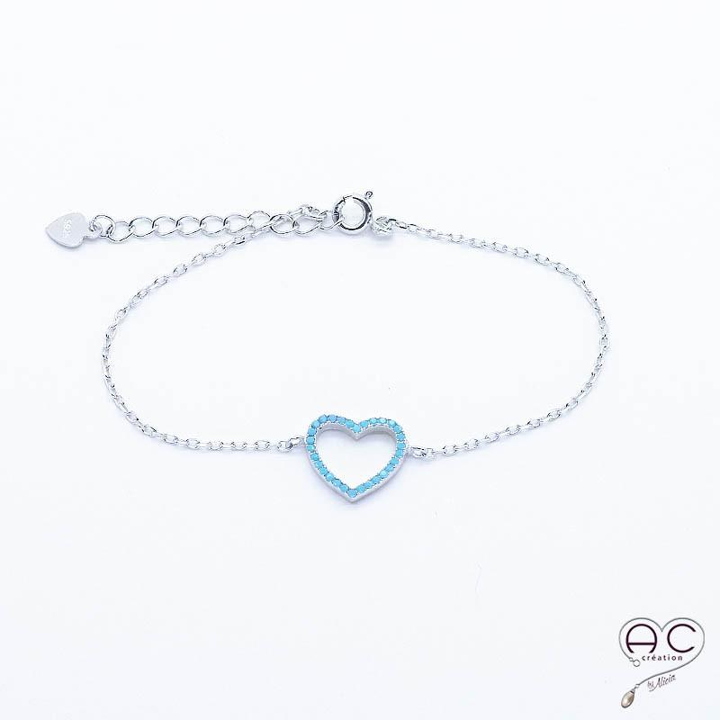 bracelet turquoise coeur ch inette argent rhodi femme fin tendance. Black Bedroom Furniture Sets. Home Design Ideas