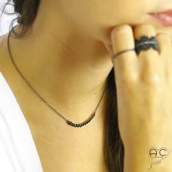 Collier argent noir 925 rhodié arc de zirconium noir