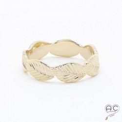 Bague feuilles anneau plaqué or