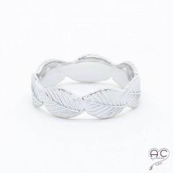 Bague feuilles anneau argent 925 rhodié