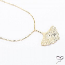 Collier GINKGO feuille ras du cou plaque or