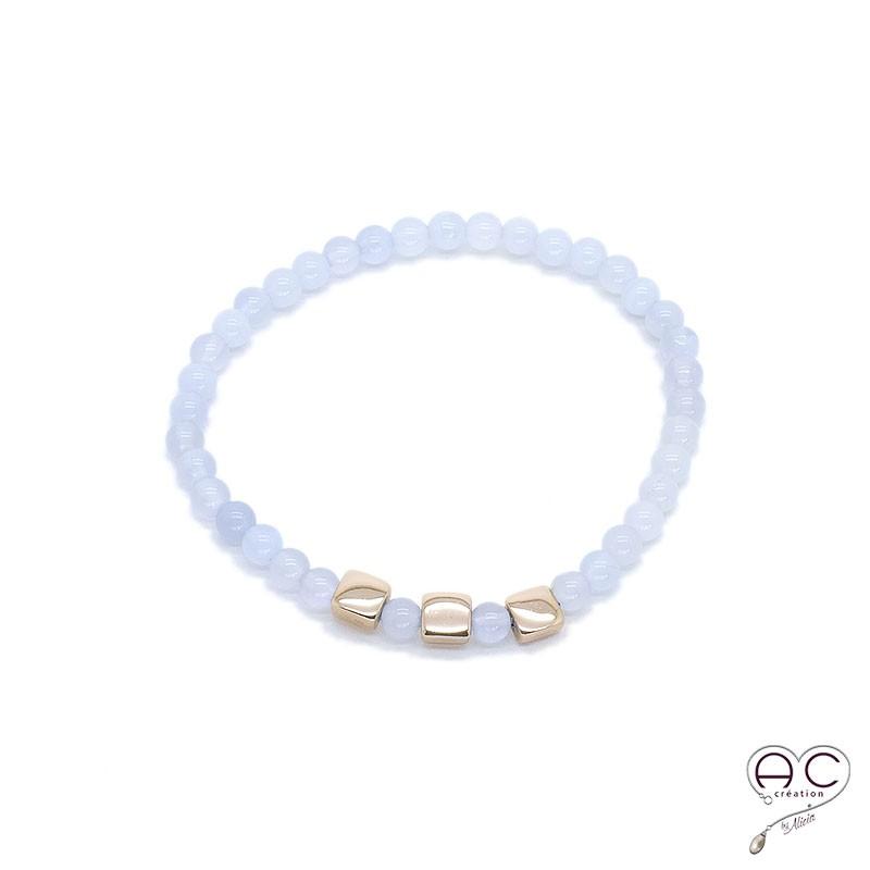 bracelet pierres fines bleu or calc doine femme semi. Black Bedroom Furniture Sets. Home Design Ideas