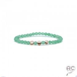 Bracelet pierres semi-précieuses vertes, aventurine, plaqué or