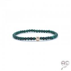 Bracelet pierres semi-précieuses vertes, malachite, plaqué or