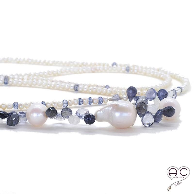 sautoir perles d 39 eau douce pierre semi pr cieuse saphir bleu tendance. Black Bedroom Furniture Sets. Home Design Ideas