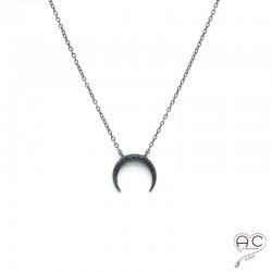 Collier croissant de lune ras du cou serti zirconium noir argent 925 rhodié noir