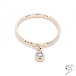 Bague anneau fin avec pampille zirconium rond plaqué or
