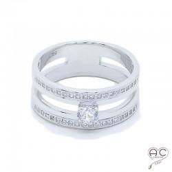 Bague anneau double argent 925 rhodié zirconium