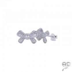 Boucles d'oreilles nœud argent 925 rhodié zirconium