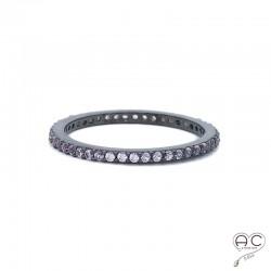 Bague anneau fin argent 925 rhodié noir et zirconium rose