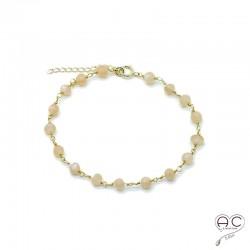 Bracelet pierre semi-précieuse pierre de soleil et plaque or