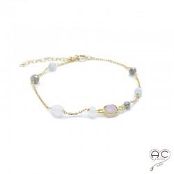 Bracelet pierre semi-précieuse, quartz rose et oeil de chat sur une chaînette en plaqué or