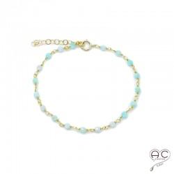 Bracelet pierre semi-précieuse amazonite et plaque or