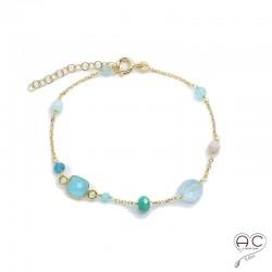 Bracelet pierre semi-précieuse, calcédoine bleu, aigue marine, amazonite, sur une chaînette en plaqué or