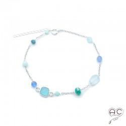 Bracelet pierre semi-précieuse, calcédoine bleu, aigue marine, amazonite, sur une chaînette en argent 925