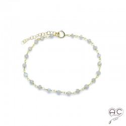 Bracelet pierre semi-précieuse labradorite et plaqué or
