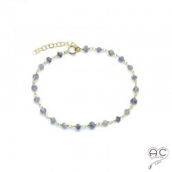 Bracelet pierre semi-précieuse saphir d'eau et plaqué or