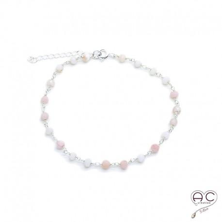 Bracelet pierre semi-précieuse opale rose et plaqué or
