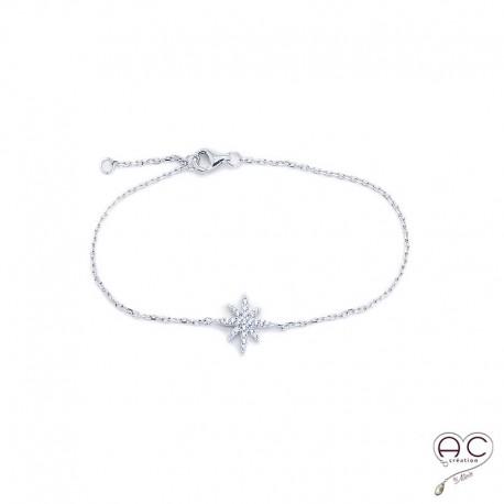 Bracelet étoile serti zirconium blanc argent 925 rhodié