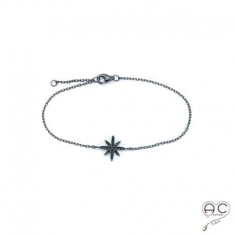 Bracelet étoile noire serti zirconium noir argent 925 rhodié noir