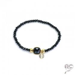 Bracelet onyx et spinelle noir pampille plaqué or pierres semi-précieuses