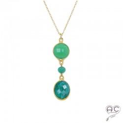 Collier pendentif long pierre semi-précieuse vert chrysoprase et sillimanite émeraude plaque or ras de cou