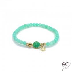 Bracelet pierre naturelle vert chrysoprase pampille plaqué or