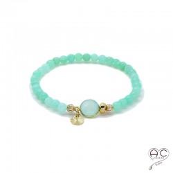Bracelet pierre naturelle vert, calcédoine agua et chrysoprase, pampille plaqué or, femme, élastique, bohème, gipsy, création